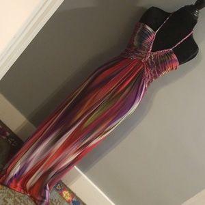 Sky Braid Trim Halter Maxi Dress